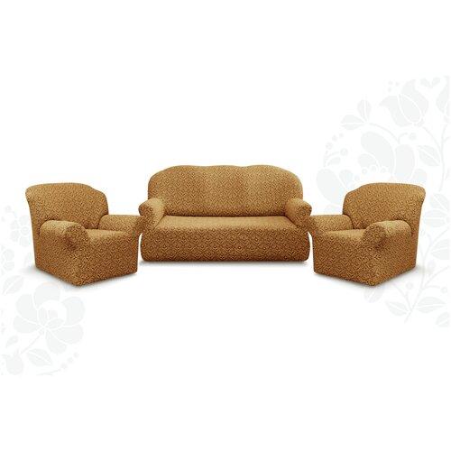 Чехлы без оборки Евро Престиж дизайн 10044 на Диван+2 Кресла, кофе с молоком