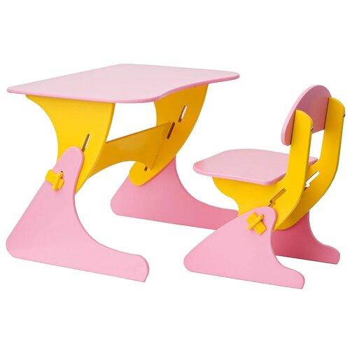 Комплект Столики детям столик + стул Буслик 67x50 см розовый/желтый недорого