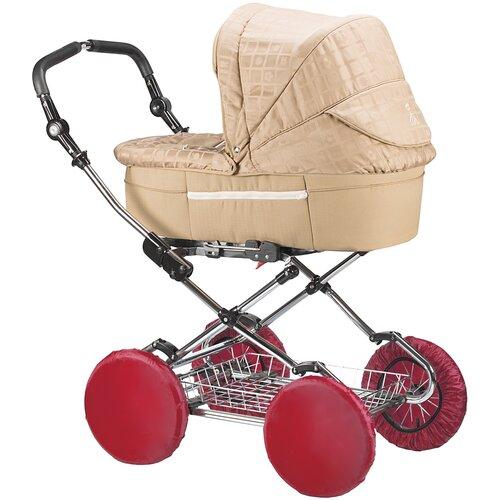 чудо чадо чехлы на колеса для коляски диаметр 18 28 см цвет васильковый 2 шт Чехлы на колеса для детской коляски на резинке ROXY-KIDS, 4 шт. цвет бордовый