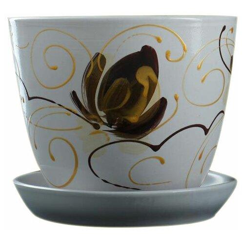 Горшок Художественная керамика Орхидея с подставкой белый/коричневый/золотистый