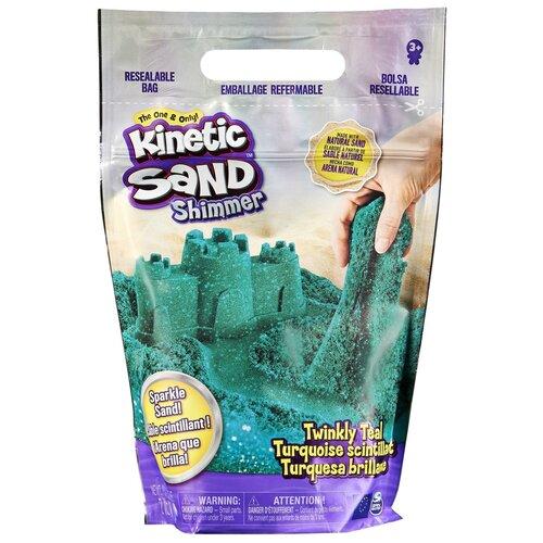 Кинетический песок Kinetic Sand с блестками (6060800/6060801), бирюзовый, 0.91 кг, пакет