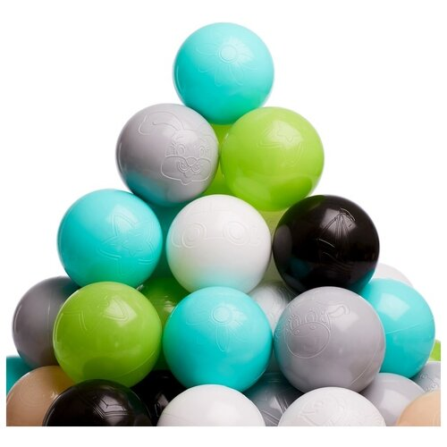 Шарики для сухого бассейна Соломон цвета: бирюзовый, серый, белый, черный, салатовый, бежевый, диаметр шара 7,5 см, в наборе 150 шт