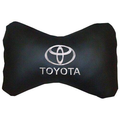 Автомобильная подушка на подголовник (подушка косточка из эко кожи) SKYWAY (черная) TOYOTA