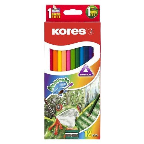Карандаши цветные Kores 12 цветов, трехгранные, акварельные, кисть, точилка