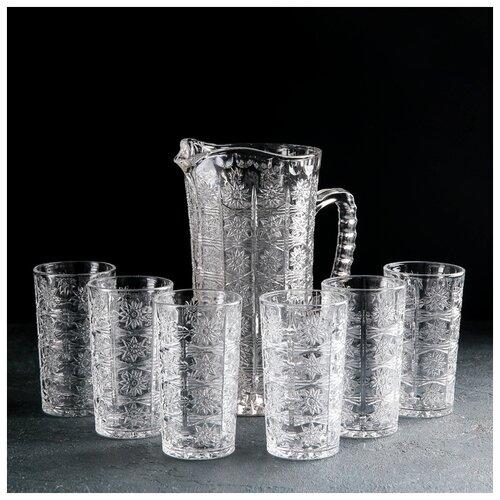 Фото - Набор питьевой 7 пред Северная звезда кувшин 1,3 л, 6 стаканов 180 мл 4443050 набор сервировочный 8 пр розы на белом поднос круглый кувшин 0 25 л рюмка 20 мл 6 шт 409293