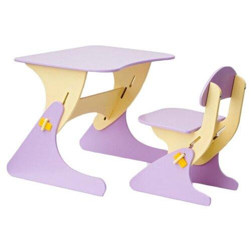 Комплект Столики детям столик + стул Буслик 67x50 см сиреневый/бежевый