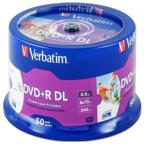 Диск DVD+R DL 8.5Gb Verbatim 8x Double Layer Printable cake, упаковка 50 штук (43703)