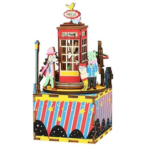Купить Деревянный 3D конструктор - музыкальная шкатулка Robotime Phone Booth - AM401, Сборные модели