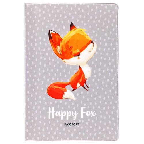 Обложка для паспорта MESHU Happy Fox, серый/оранжевый