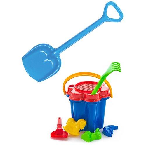 Купить Детский игровой набор для песочницы: Песочный набор Цветок + Лопатка 50 см. синяя, КАРОЛИНА ТОЙЗ, Karolina toys, Наборы в песочницу