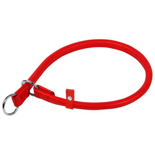 Ошейник удавка рывковый кожаный круглый для собак красный 10 мм 50 см Collar WauDog Glamour (1 шт)