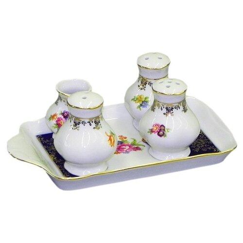 Фото - Набор для приправ Мэри-Энн Темно-синяя окантовка с цветами, 5 пр., Leander ваза для фруктов мэри энн темно синяя окантовка с цветами 23 см 03116154 0086 leander