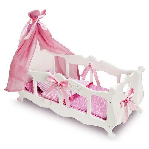 Манюня Diamond princess Колыбелька с постельным бельем и балдахином (71519) белый/розовый
