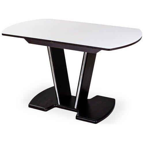 Стол кухонный Домотека Танго ПО 03, раскладной, ДхШ: 110 х 70 см, длина в разложенном виде: 147 см, ВН ст-БЛ венге/стекло белое 03 ВН венге