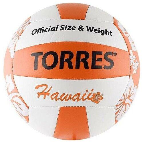 Мяч для пляжного волейбола Torres Hawaii V30075B (V30075B, белый, оранжевый, PR, 5)
