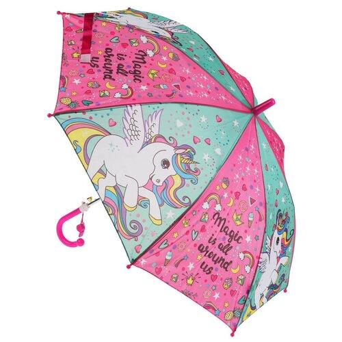 Зонт детский Играем вместе Единороги 45см, со свистком