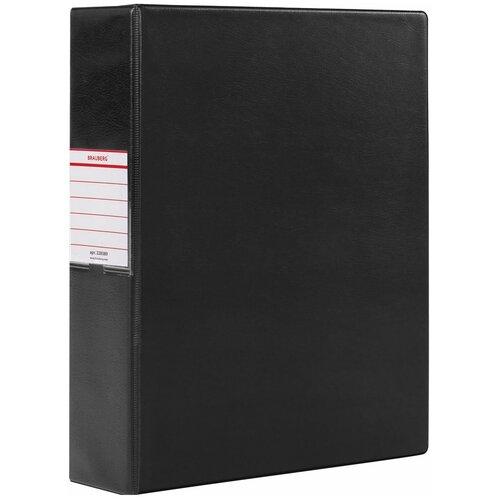 Папка на 2 кольцах Brauberg картон/ПВХ, 75 мм, черная, до 500 листов (228389)