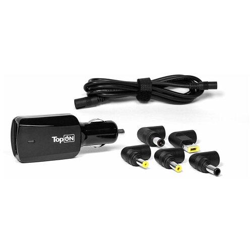 Автомобильный адаптер, зарядка TopON для ноутбука универсальная 16V - 20V, 4.5A(90W), 5 коннекторов