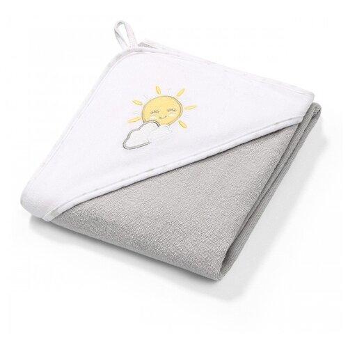 BabyOno Полотенце Soft с капюшоном банное 100х100 см серый