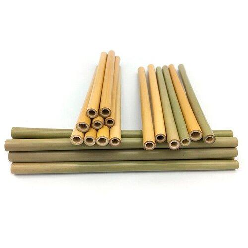 трубочки для коктейлей домашний сундук неоновые 21 см 100 шт Viatto Трубочки для коктейлей бамбук BSA-200, 200x7-13 мм, 10 шт., натуральный