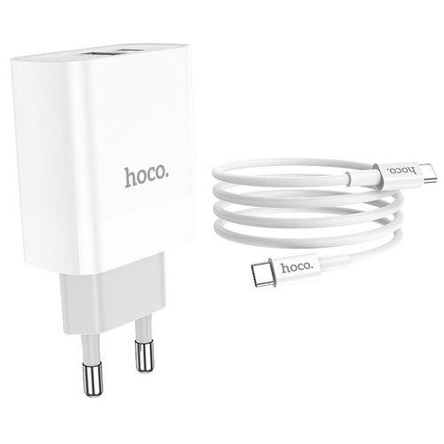 Фото - Сетевая зарядка Hoco C80A Rapido + кабель USB Type-C - USB Type-C, white сетевая зарядка hoco c11 кабель micro usb white белый