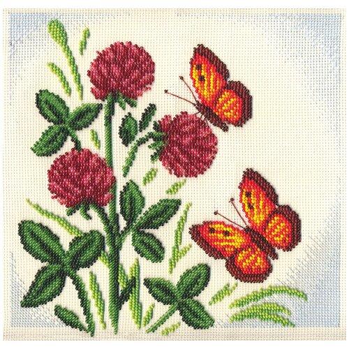 Купить PANNA Набор для вышивания бисером и нитками Клевер 24 x 24 см (Ц-1155), Наборы для вышивания