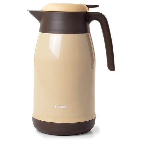 Термокувшин Fissman 9802, 1.5 л бежевый/коричневый
