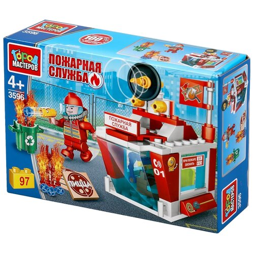 Купить Конструктор ГОРОД МАСТЕРОВ Пожарная служба 3596 Пожарная станция, Конструкторы