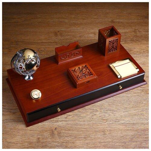 Набор настольный 7в1 (блок для бумаг-2шт,часы, подстав. д/визитниц,карандаш-ца.,глобус,ящик) 1527984
