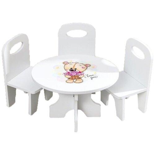 Фото - Коняша Набор стол и стулья Мишутки Романтик (МН05Р) белый кукольные домики и мебель коняша набор стол и стулья мишутки романтик