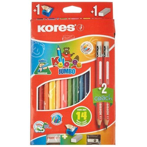 Купить Карандаши цветные 12цв 3-гран Kores Jumbo промо набор 93514.01, Цветные карандаши