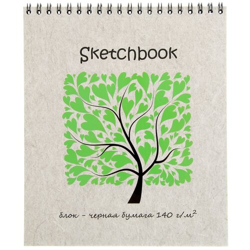 Купить Скетчбук для зарисовок Полином Sketchbook Black 20 х 17 см, 140 г/м², 20 л., Альбомы для рисования