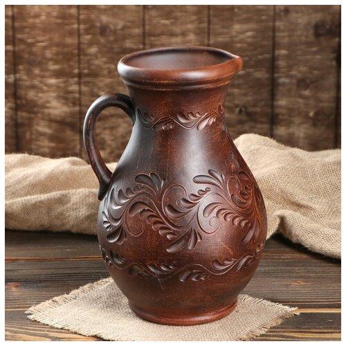 Кувшин классический 3л красная глина декор микс 508439
