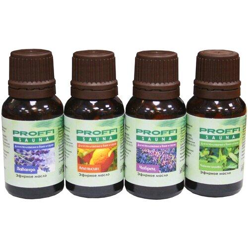 PROFFI набор эфирных масел Лаванда, апельсин, чабрец, чайное дерево, 15 млх 4 шт.