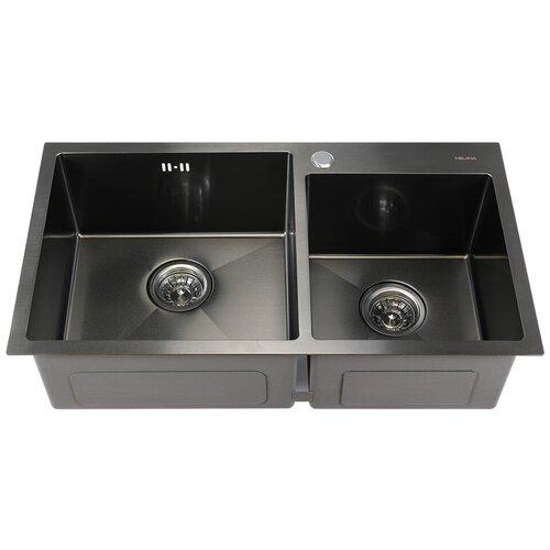 Врезная кухонная мойка 78 см MELANA MLN-7843 графит сатин кухонная мойка melana 218 t 10