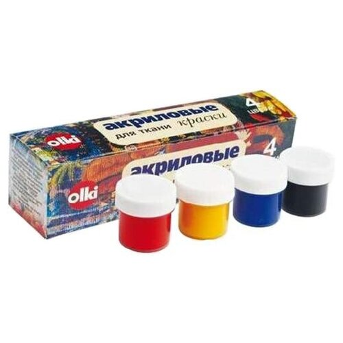 OLKI Набор акриловых красок для ткани, 4 цвета х 22 мл (405012) недорого
