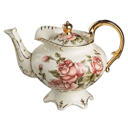 Lefard Заварочный чайник Корейская роза 800 мл, белый lefard заварочный чайник корейская роза 1 3 л белый розовый золотой
