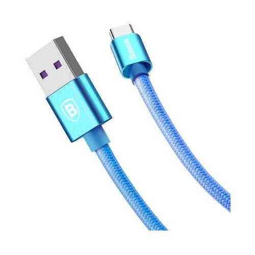 Кабель Baseus Speed QC USB - USB Type-C (CATKC) 1 м, синий кабель baseus double fast charging usb usb type c catkc 1 м красный