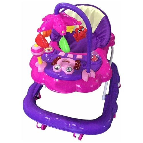 Ходунки Alis Цветок С, 8 силиконовых колес, тормоз, музыка, игрушки, фиолетовый