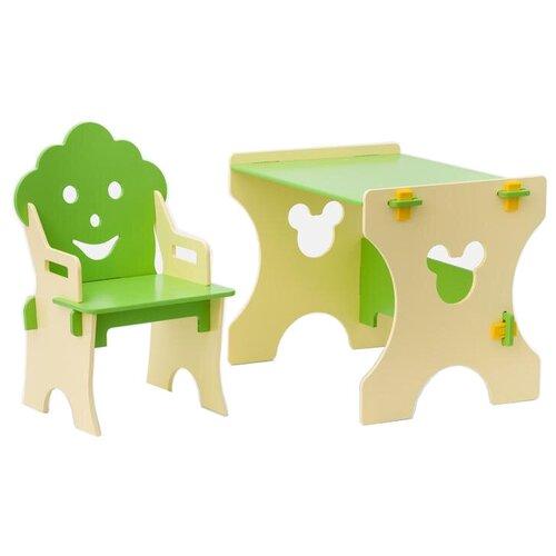 Комплект Столики детям стол + стул Гном 50x45 см бежевый/салатовый
