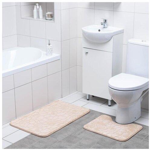 Фото - Набор ковриков для ванны и туалета 2 шт 39х40, 50х80 см Галька, ракушки цвет бежевый 4280825 набор ковриков для ванны и туалета 2 шт 40х50 50х80 см галька ракушки цвет бордовый 2987264