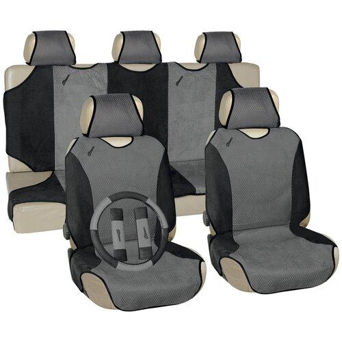 Чехлы автомобильные универс. для легковых авто Vettler ГЕПАРД вельвет, серые (оплетка на руль)