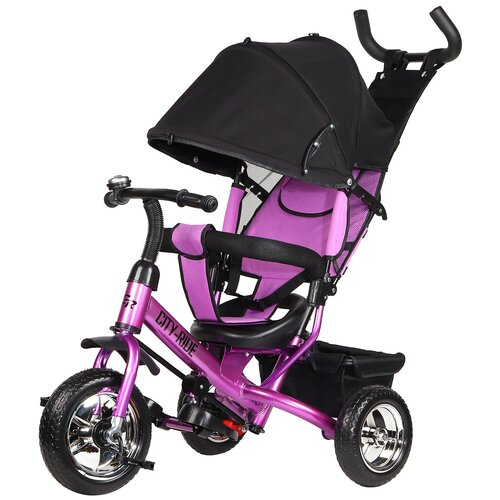 Купить Велосипед детский трехколесный City-Ride, колеса пластиковые 10/8, поворотное сиденье, колясочная крыша с окошком, регулируемая спинка, звонок, тормоз задних колес, велосипед для детей, для малышей, с родительской ручкой, бампер, багажник, цвет фиолетовый, Трехколесные велосипеды