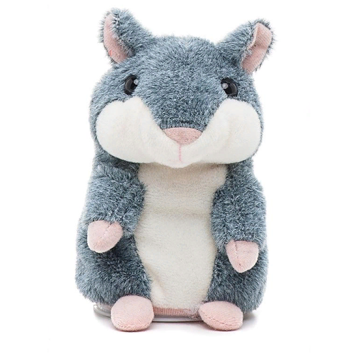 Говорящий хомяк-повторюшка интерактивная игрушка,15см, серый