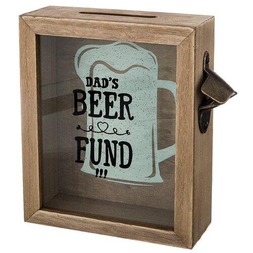 Копилка для пивных крышек Lefard Фонд папиного пива 124-101, коричневый копилка lefard фонд папиного пива 21х22х7см д пробок мдф