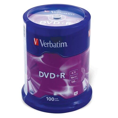 Фото - Диски DVD+R (плюс) VERBATIM 4,7 Gb 16x, КОМПЛЕКТ 100 шт., Cake Box, 43551 диск dvd r 4 7gb verbatim 16x cake box 10шт