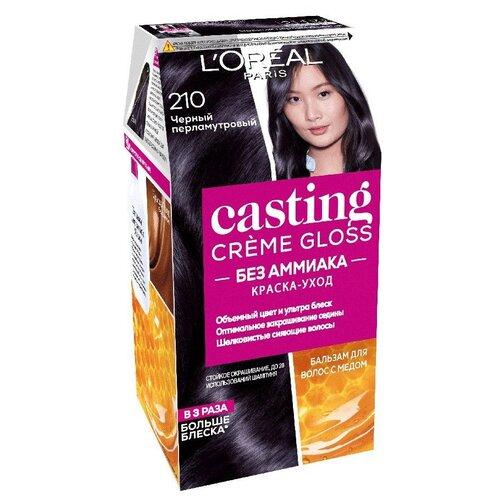 Купить L'Oreal Paris Casting Creme Gloss стойкая краска-уход для волос, 210, Черный Перламутровый