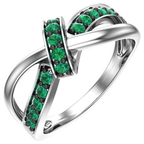 POKROVSKY Серебряное кольцо с зелеными фианитами 1101003-00445, размер 16