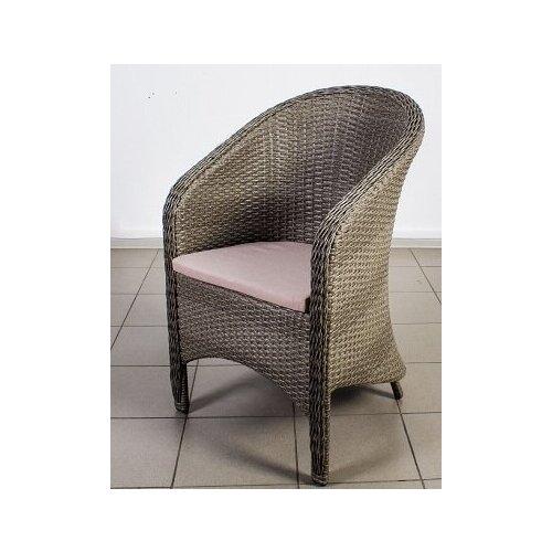 Кресло Каприз, плетеное из искусственного ротанга мокко с подушкой