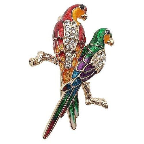 Blucome Брошь Пара попугаев зеленый-красный
